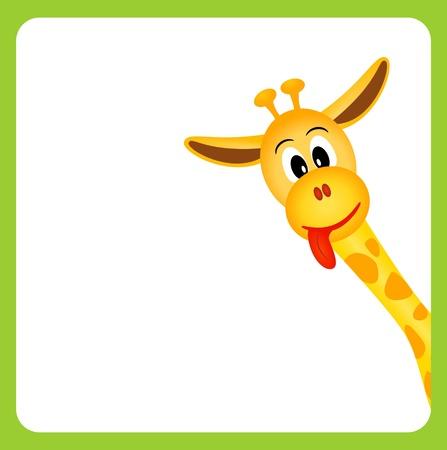 Foto de cute little giraffe on white background in green border - vector illustration - Imagen libre de derechos