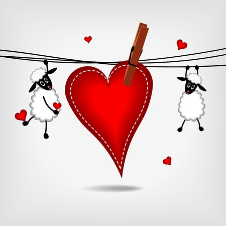 two cute sheep hanging on washing line with big red heart on gray background - vector illustration