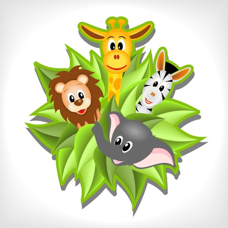 Photo pour little cartoon elephant, giraffe, lion and zebra  on background from green leaves - vector illustration - image libre de droit