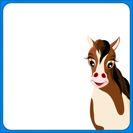 cute brown and white horse in empty frame with blue border and white background - illustration