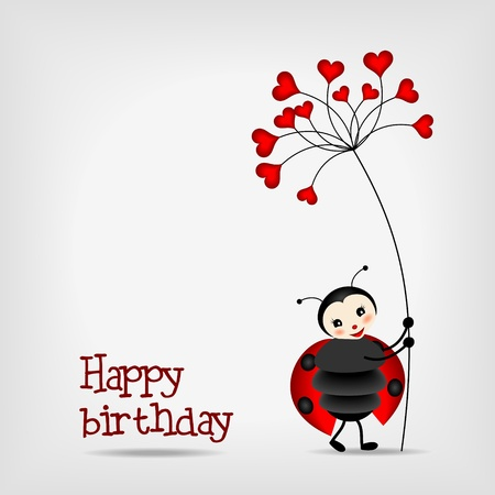 Illustration for cute ladybug with red flower, birthday card - vector illustration - Royalty Free Image