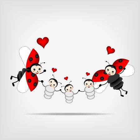 Foto de happy ladybugs - parents and tree children - Imagen libre de derechos