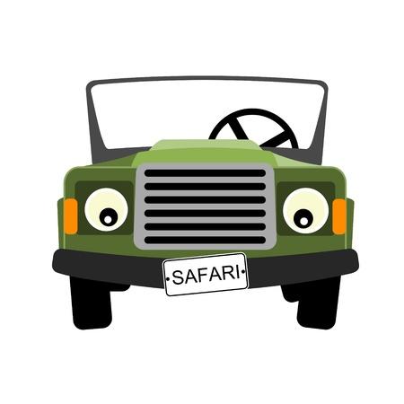 Ilustración de green safari car illustration - Imagen libre de derechos