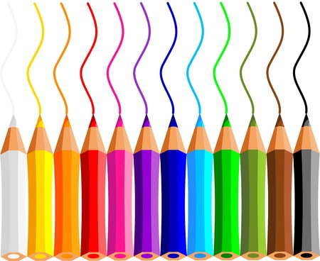 collection of crayons on white background