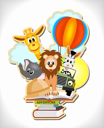 wild animals, hot air balloon and car with adventure books