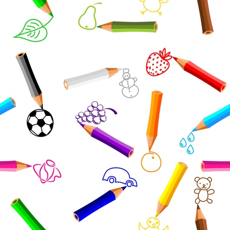 seamless pattern - crayons with doodles on white background - vector