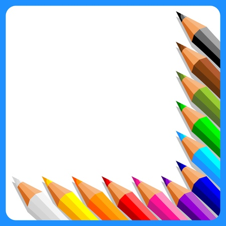 collection of crayons on white background in blue frame - vector illustration