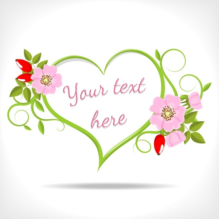 Illustration pour floral heart with green twigs and wild rose on white background  - image libre de droit