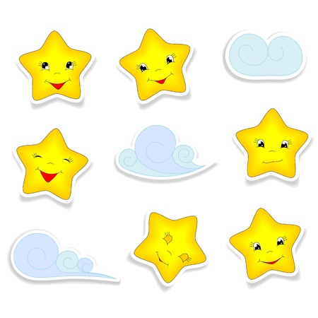 Photo pour cartoon stars with different smiles,  and clouds - kid illustration - image libre de droit