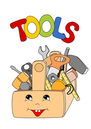 cartoon tools in a toolbox on white background - kid illustration