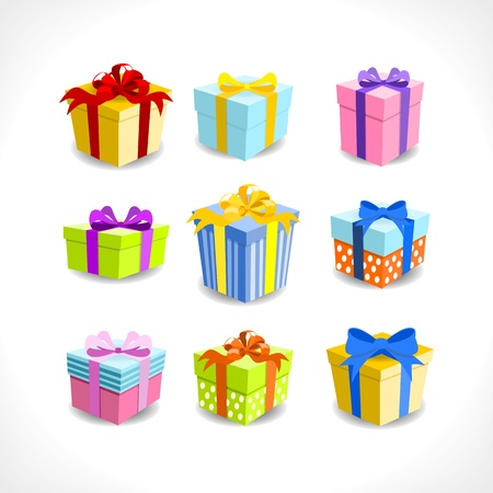 various colorful gifts with ribbons on white background