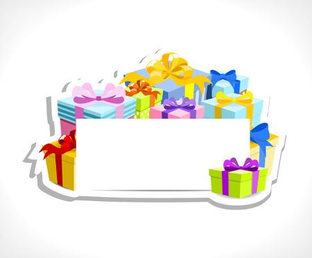 colorful gifts with blank card - place for your text, on white background, vector illustration