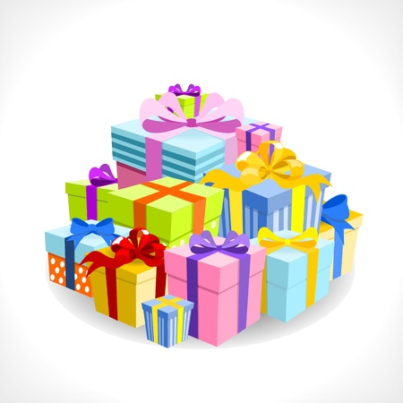 pile of colorful gifts on white background - vector illustration