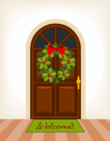 brown wooden door with christmas holy wreath