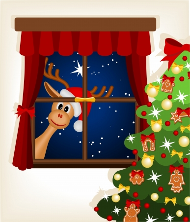 funny reindeer looking through window at christmas time