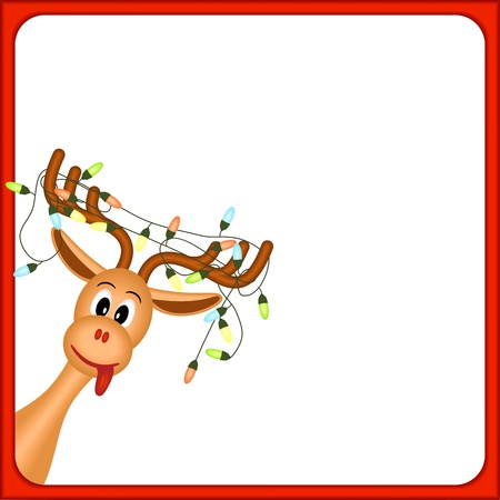 Illustration pour christmas reindeer with electric lights in antlers, on white background, in red frame, vector illustration - image libre de droit