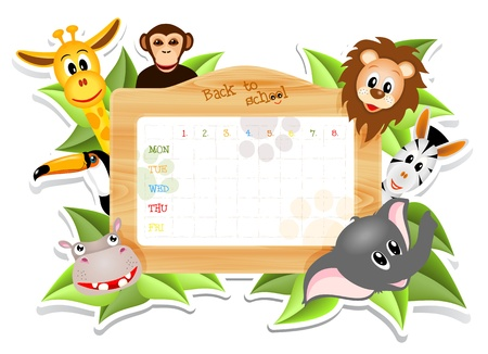 school timetable with animals, illustration with transparency