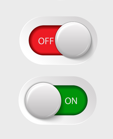 on - off switches, white with 3d effect, with red and green background illustration