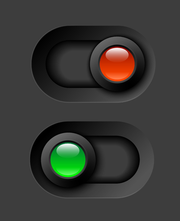 on - off switches, white with 3d effect, with red and green led light, vector illustration, eps 10 with transparency