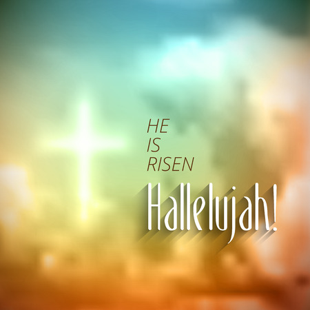 easter christian motivewith text He is risen Hallelujah vector illustration eps 10 with t