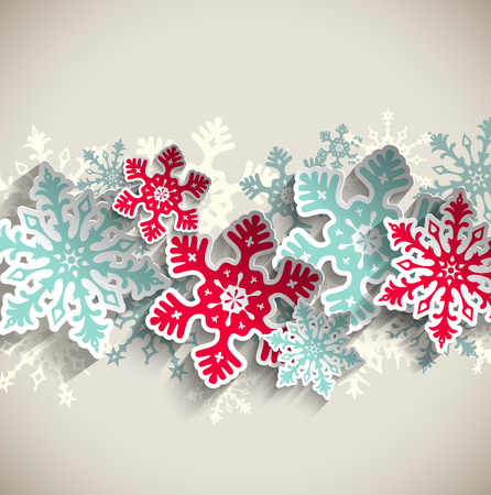 Illustration pour Abstract  blue and red snowflakes on beige background with 3D effect, winter concept, vector illustration  - image libre de droit