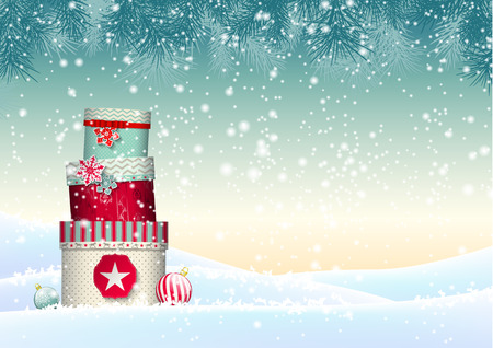 Christmas background with stack of colorful giftboxes in snowy landscape, vector illustration, eps 10 with transparency and gradient meshesのイラスト素材