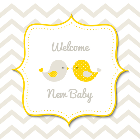 Illustration for Baby shower with two cute yellow birds - Royalty Free Image