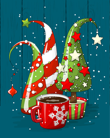Ilustración de group of abstract christmas trees and coffee cup, holiday motive, illustration - Imagen libre de derechos