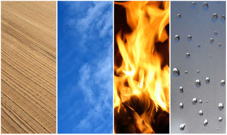 Four elements of nature  Earth, air, fire and water