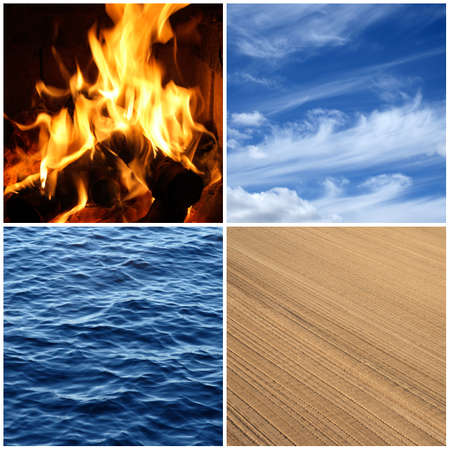 Four elements of nature  Fire, water, air and earth