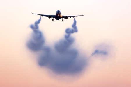 Turbulent wake visualizing behind airplane.