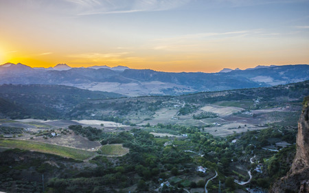 beautiful sunset over the Ronda, areal view ,Spain