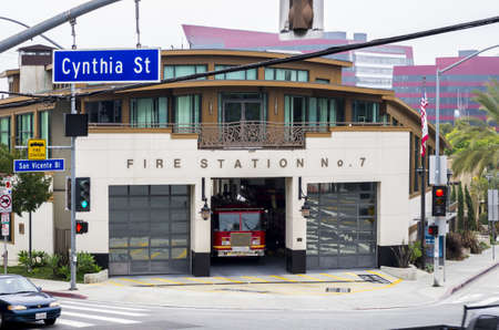 West Hollywood, California - June 8th, 2013 : Fire Station No. 7 at the crossing of Ctnthia St. and San Vicente Bl.
