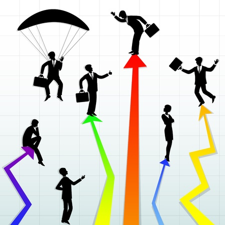 Abstract illustration of business people in different situations