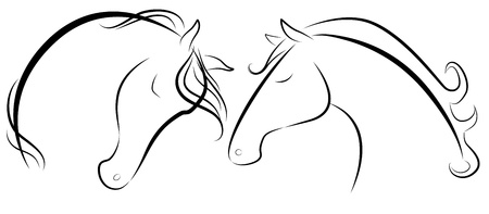 Vector illustration of Horse head black and white
