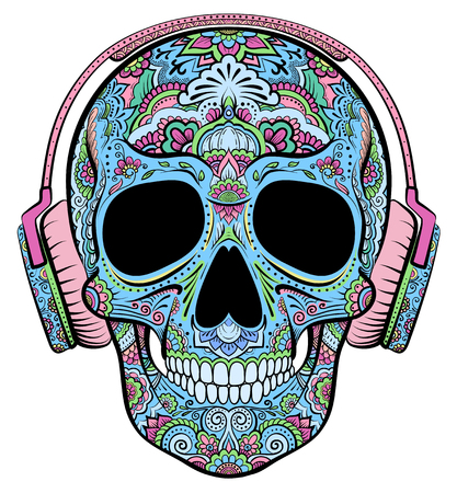 Illustration pour Vector colorful skull graphics with floral ornaments and headphones - image libre de droit
