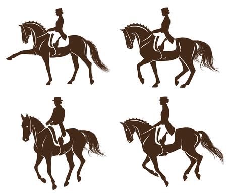 Ilustración de 4 detailed silhouettes of horses with rider performing dressage - Imagen libre de derechos