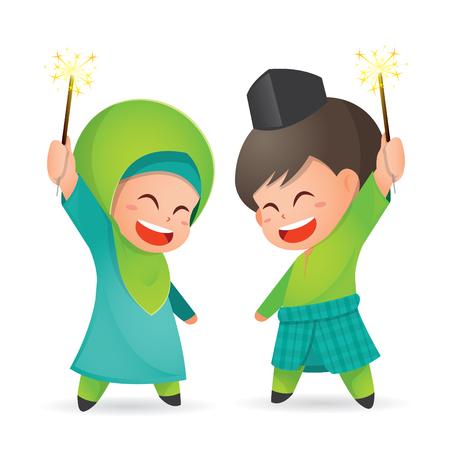 Illustration pour Selamat Hari Raya Aidilfitri vector illustration. Cute muslim kids having fun with sparklers - image libre de droit