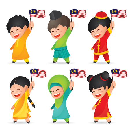 Illustration for Malaysia National / Independence Day illustration. Cute cartoon character kids of Malay, Indian & Chinese holding Malaysia flag. 31 August, Merdeka. - Royalty Free Image