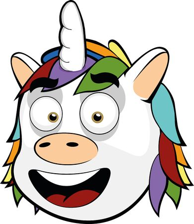 Illustration for Vector illustration of the face of a unicorn cartoon - Royalty Free Image