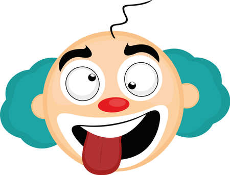 Illustration pour Vector emoticon illustration of the head of a cartoon clown with a funny and crazy expression - image libre de droit