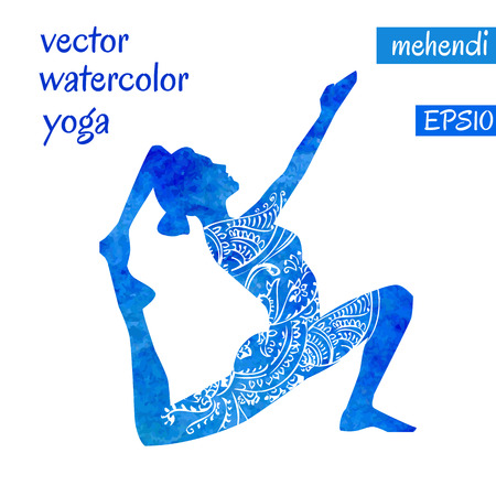 Vector silhouette of yoga woman with bright blue watercolor texture and white ethnic ornament.