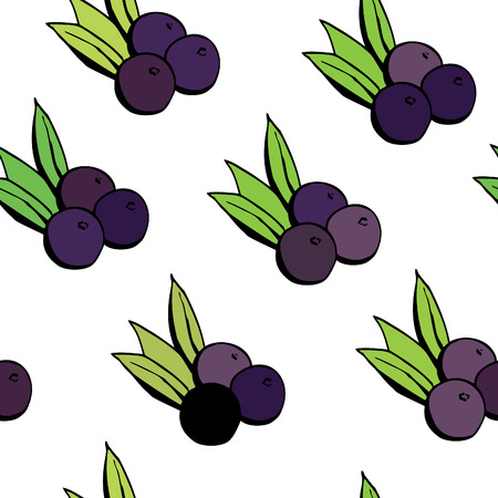 Illustration pour Simple vector seamless pattern with doodle acai berries on white background. - image libre de droit