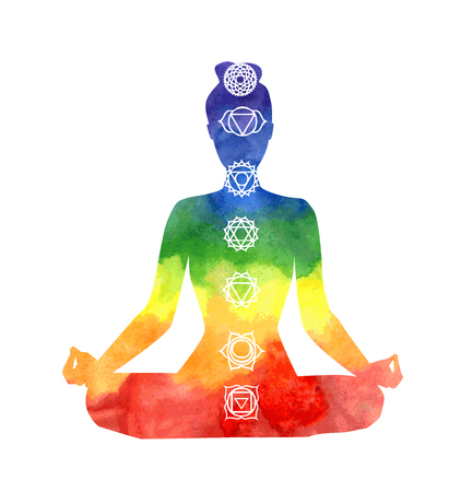 Illustration pour Vector silhouette of yoga woman with chakra symbols. Bright watercolor texture and white background. Padmasana - Lotus pose. - image libre de droit