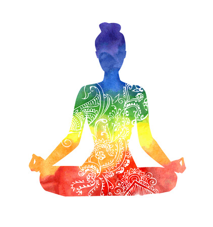 Illustration pour Vector silhouette of yoga woman with white decorative pattern. Bright colorful watercolor texture in rainbow dyes. Isolated figure on white background. Padmasana - Lotus pose. - image libre de droit
