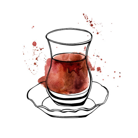 Illustration pour Vector hand drawn illustration of traditional turkish tea in an authentic turkish glass named bardak. Black outlines and colorful stains and drips. Isolated object on white background. - image libre de droit