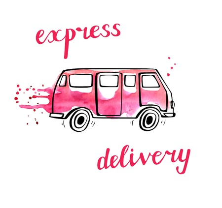 Ilustración de Vector transport illustration in doodle style. Hand drawn bus with black outline and pink watercolor stains, curtains and drips. Isolated on white. Express delivery of fashion and beauty products - Imagen libre de derechos