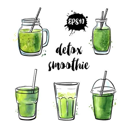 Ilustración de Set of vector illustrations Detox smoothie. Collection of hand drawn cups, mugs and glasses with healthy summer cocktails. Black outline and green watercolor stains isolated on white background. - Imagen libre de derechos