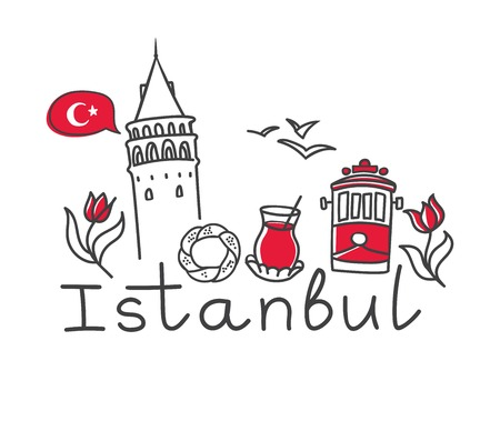 Illustration pour Vector illustration Istanbul with hand drawn doodle turkish symbols: the Galata tower, tea glass, simit, tram, seagull, tulip and a national flag of Turkey. Simple minimalistic design of black outline - image libre de droit