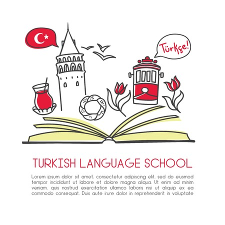 Illustration pour Vector illustration Turkish language school. An open book and symbols of Turkey: Galata tower, tram, tea, tulip, simit bagel, seagull. Hand drawn doodle objects isolated on white with place for text. - image libre de droit